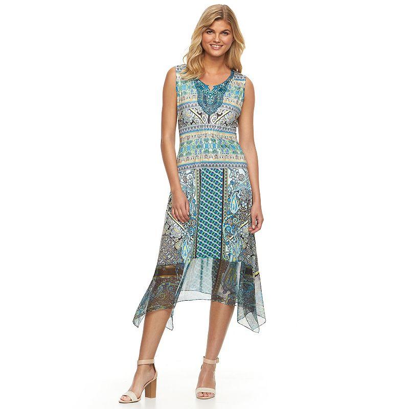 Women's World Unity Print Crochet Midi Dress