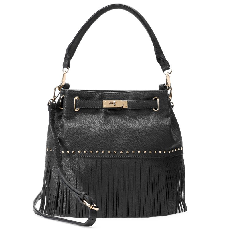 Mellow World Lorraine Fringe Bucket Bag, Women's, Black