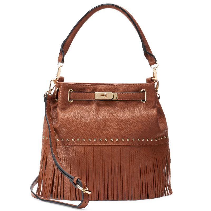 Mellow World Lorraine Fringe Bucket Bag, Women's, Brown
