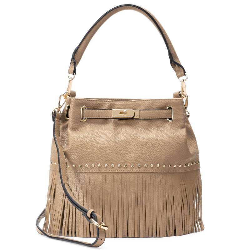 Mellow World Lorraine Fringe Bucket Bag, Women's, Beig\/Green (Beig\/Khaki)