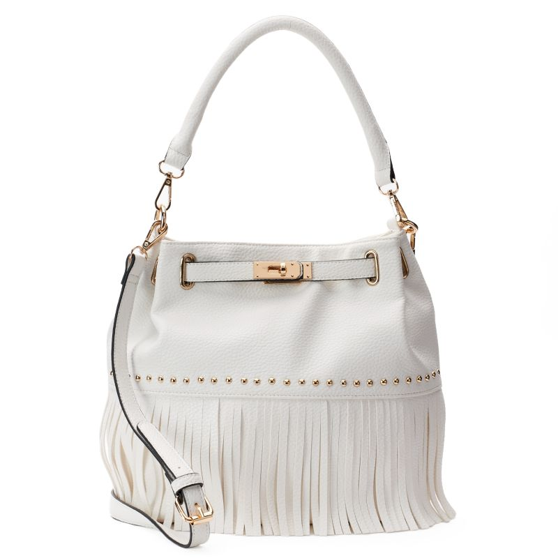 Mellow World Lorraine Fringe Bucket Bag, Women's, White