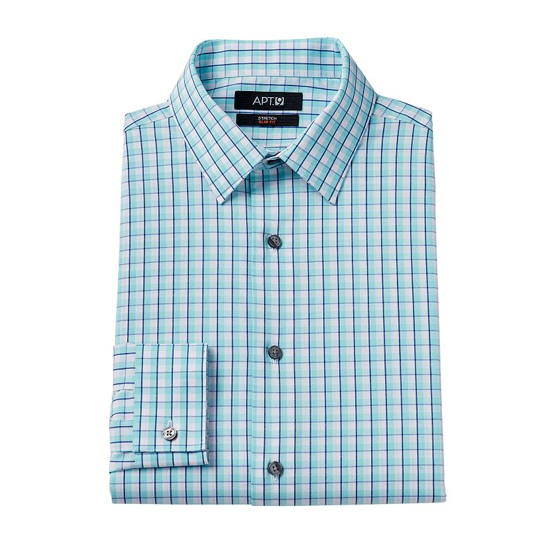 Men 39 s apt 9 extra slim fit gingham checked stretch dress for Apartment 9 dress shirts
