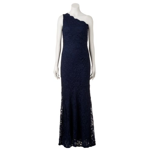 Women's 1 by 8 One-Shoulder Glitter Lace Evening Gown