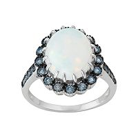 Sterling Silver Simulated White Opal & Cubic Zirconia Halo Ring