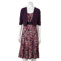 Women's Perceptions Paisley Dress & Shrug Set