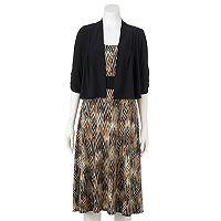 Women's Perceptions Chevron Midi Dress & Shrug Set