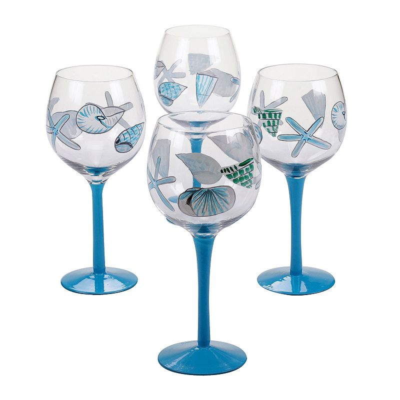 Certified International Sea Finds 4-pc. Wine Glass Set