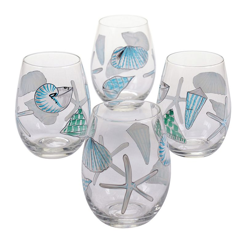 Certified International Sea Finds 4-pc. Stemless Wine Glass Set