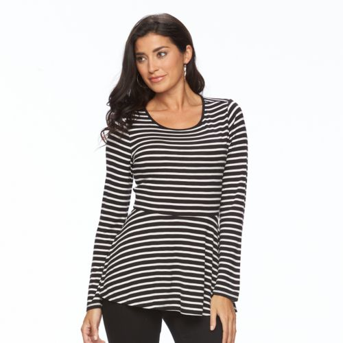 Women's Apt. 9® Long Sleeve Peplum Tee