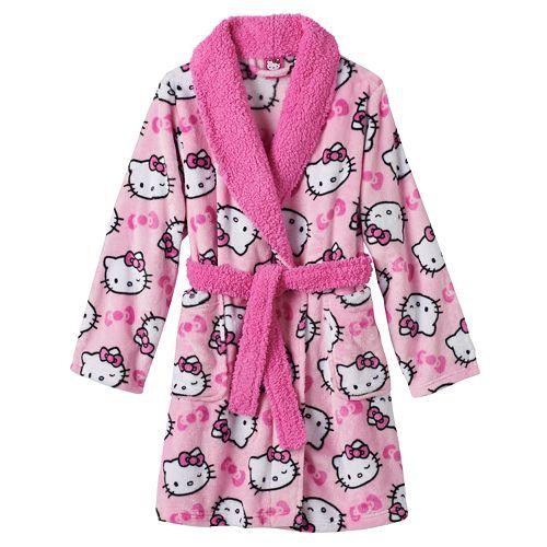Girls 4-10 Hello Kitty® Fleece Bath Robe, Girl's, Size: 4, Pink