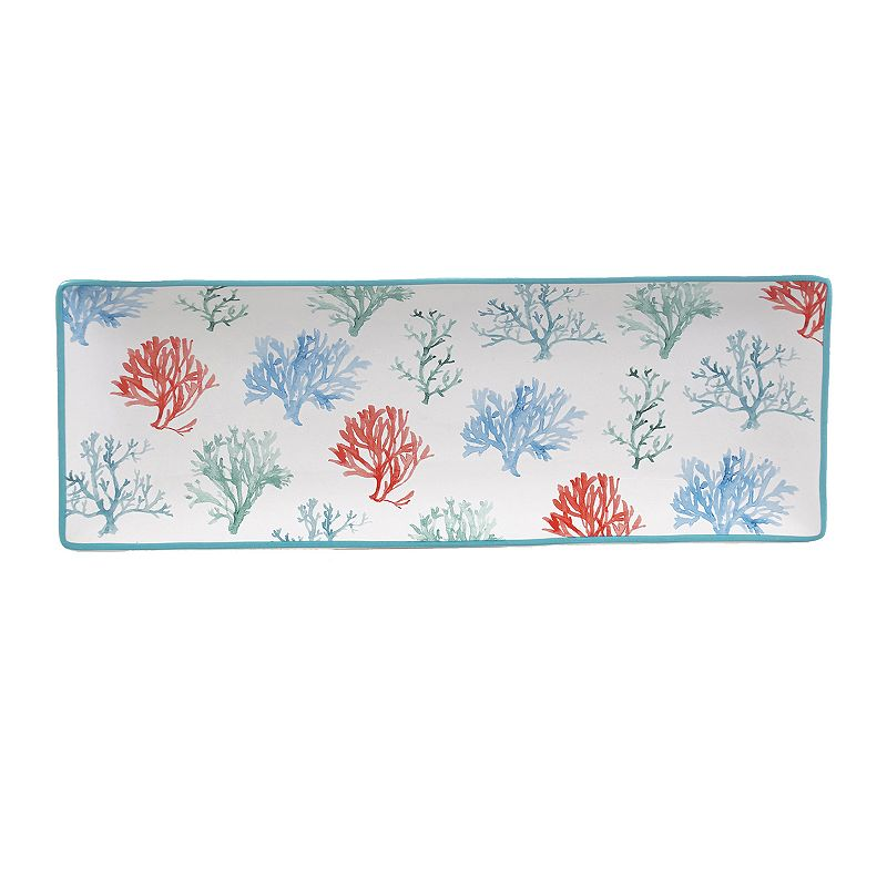 Certified International Sea Finds Water Coral Serving Platter