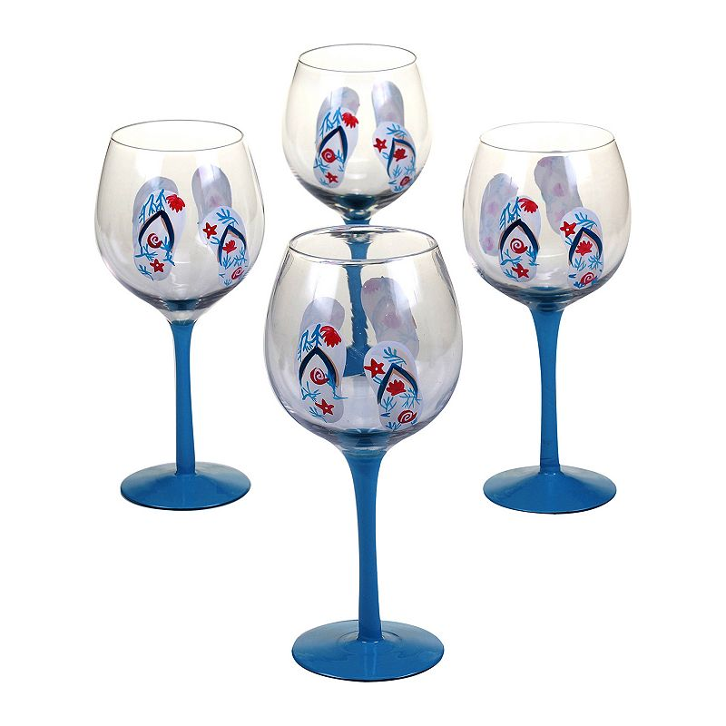 Certified International In The Moment Flip-Flop 4-pc. Wine Glass Set