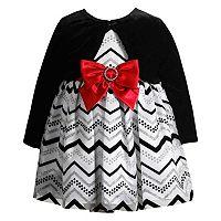 Baby Girl Youngland Velvet Shrug & Glitter Chevron Dress Set