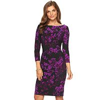 Petite Chaps Floral Pleated Sheath Dress