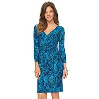 Petite Chaps Printed Surplice Sheath Dress