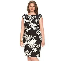 Plus Size Chaps Floral Draped Sheath Dress