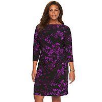Plus Size Chaps Floral Pleated Sheath Dress