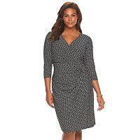 Plus Size Chaps Chain Print Faux-Wrap Dress