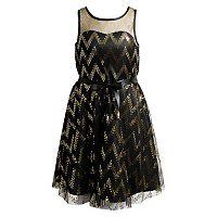 Girls 7-16 Emily West Glitter Dot Chevron Illusion Occasion Dress