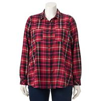 Plus Size SONOMA Goods for Life™ Plaid Flannel Shirt