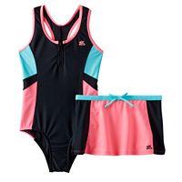 Girls 7-16 ZeroXposur One-Piece Racerback Swimsuit & Skirt Set