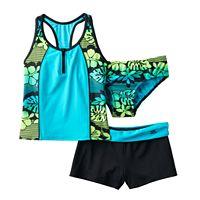 Girls 7-16 ZeroXposur 3-pc. Floral Tankini Swimsuit Set