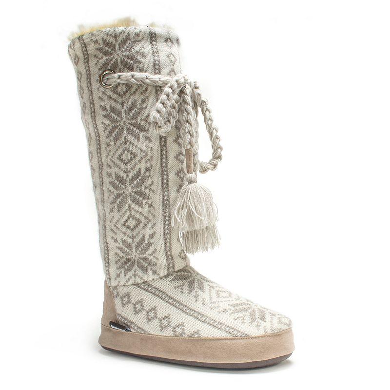 MUK LUKS Women's Grace Sweater-Knit Boot Slippers