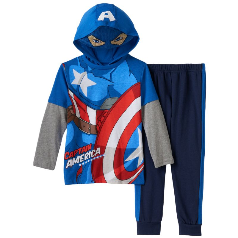 Boys 4-7 Marvel Captain America Eye Mask Mock-Layered Hooded Tee & Pants Set, Boy's, Size: 7, Dark Blue