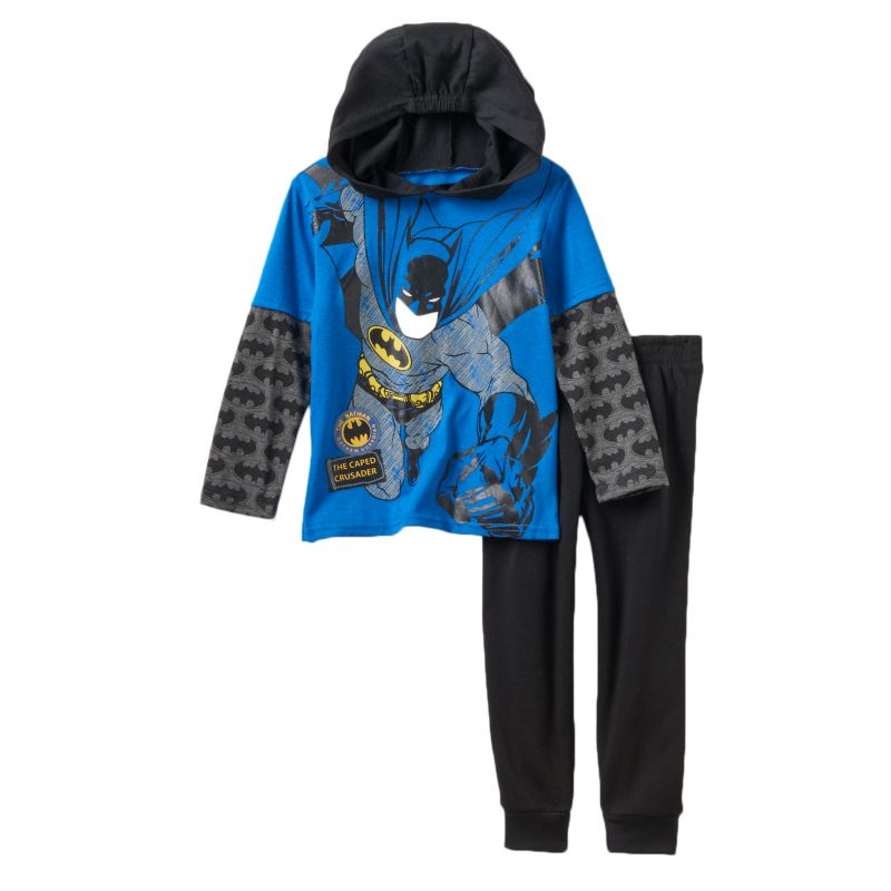 Boys 4-7 DC Comics Batman Mock-Layered Hooded Tee & Fleece-Lined Pants Set, Boy's, Size: 6, Blue