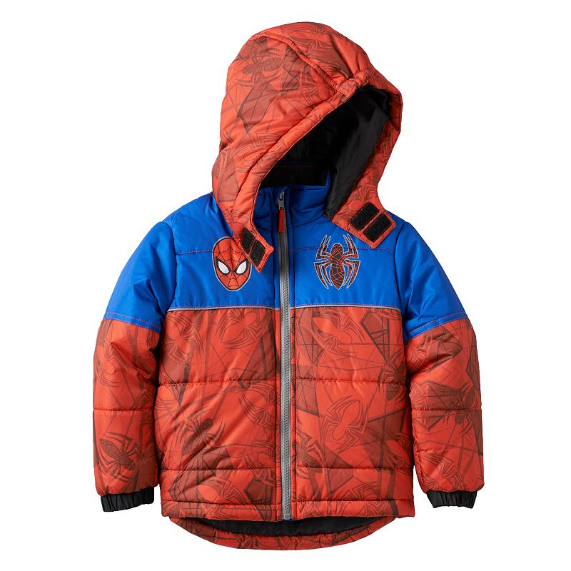Boys 4-7 Marvel Spider-Man Hooded Puffer Jacket, Boy's, Size: 6, Red