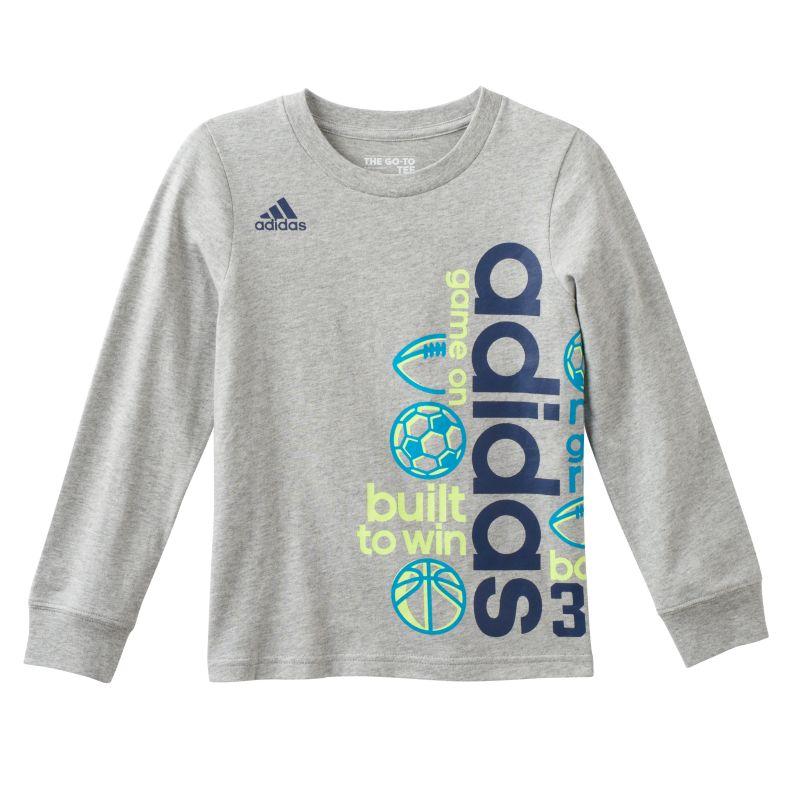 Boys 4-7x Adidas Wrap-Around Sports Graphic Tee, Boy's, Size: 4, Grey