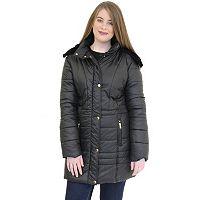 Plus Size MO-KA Faux-Fur Hooded Puffer Coat