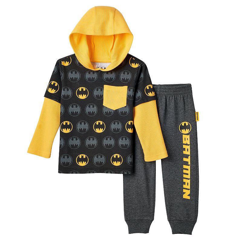 Toddler Boy DC Comics Batman Thermal Mock-Layered Long Sleeve Hooded Tee & Pants Set, Size: 3T, Black