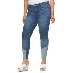 Plus Size Jennifer Lopez Colorblock Skinny Jeans
