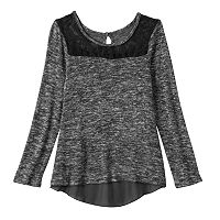 Girls Plus Size 2Hip Spacedye Split Back Knit Sweater Top