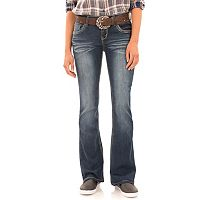 Juniors' Wallflower Belted Luscious Curvy Bootcut Jeans
