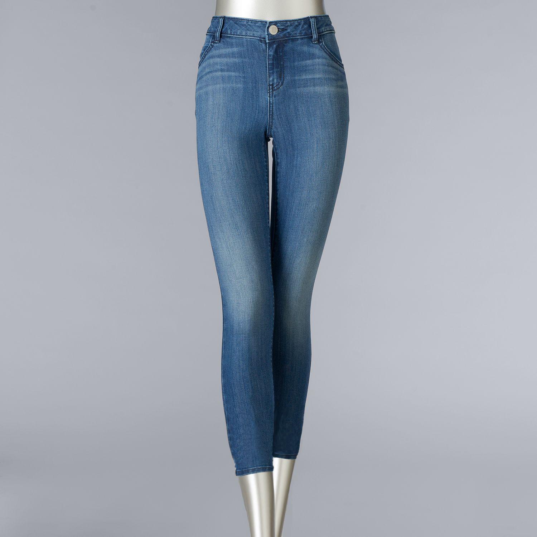 Womens Simply Vera Vera Wang Release-Hem Cropped Skinny Jeans
