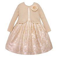 Girls 7-16 American Princess Metallic Rose Dress & Cardigan Set