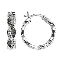 Silver Luxuries Crystal & Marcasite Twist Hoop Earrings