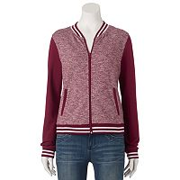 Juniors' SO® French Terry Ribbed Bomber Jacket