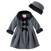 Baby Girl Sophie Rose Velvet Bow Faux-Fur Fleece Coat with Hat