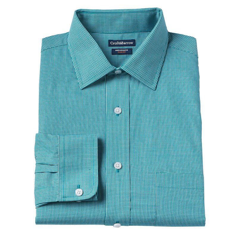 Men's Croft & Barrow® Classic-Fit Broadcloth Checked Dress Shirt