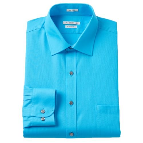Men's Van Heusen Classic-Fit Pincord Wrinkle-Resistant Spread-Collar Dress Shirt