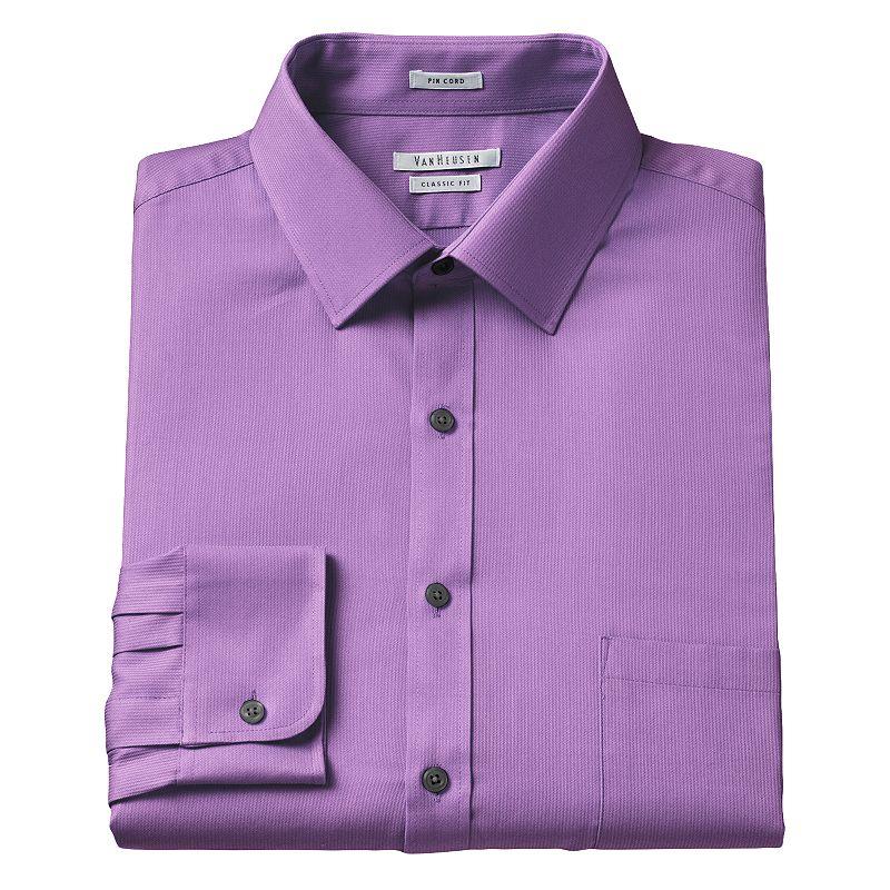 Men's Van Heusen Classic-Fit Pincord Wrinkle-Resistant Spread-Collar Dress Shirt