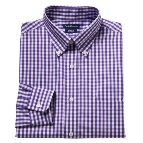 Men's Croft & Barrow® Classic-Fit Gingham Easy-Care Button-Down Dress Shirt