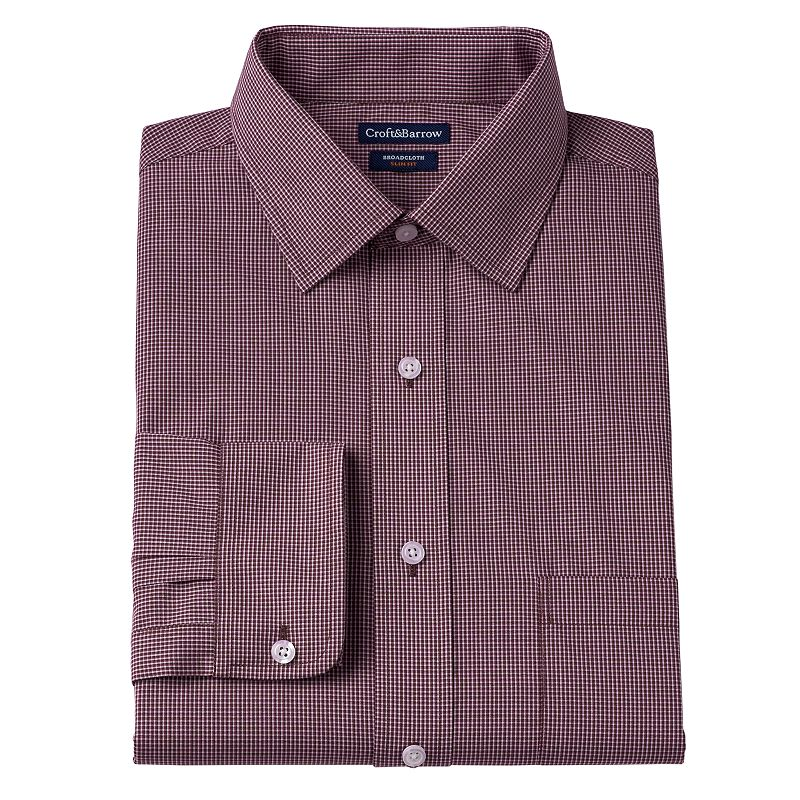 Men's Croft & Barrow Slim-Fit Broadcloth Checkered Dress Shirt