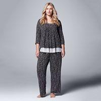 Plus Size Simply Vera Vera Wang Pajamas: Morning Frost 2-Piece Pajama Set