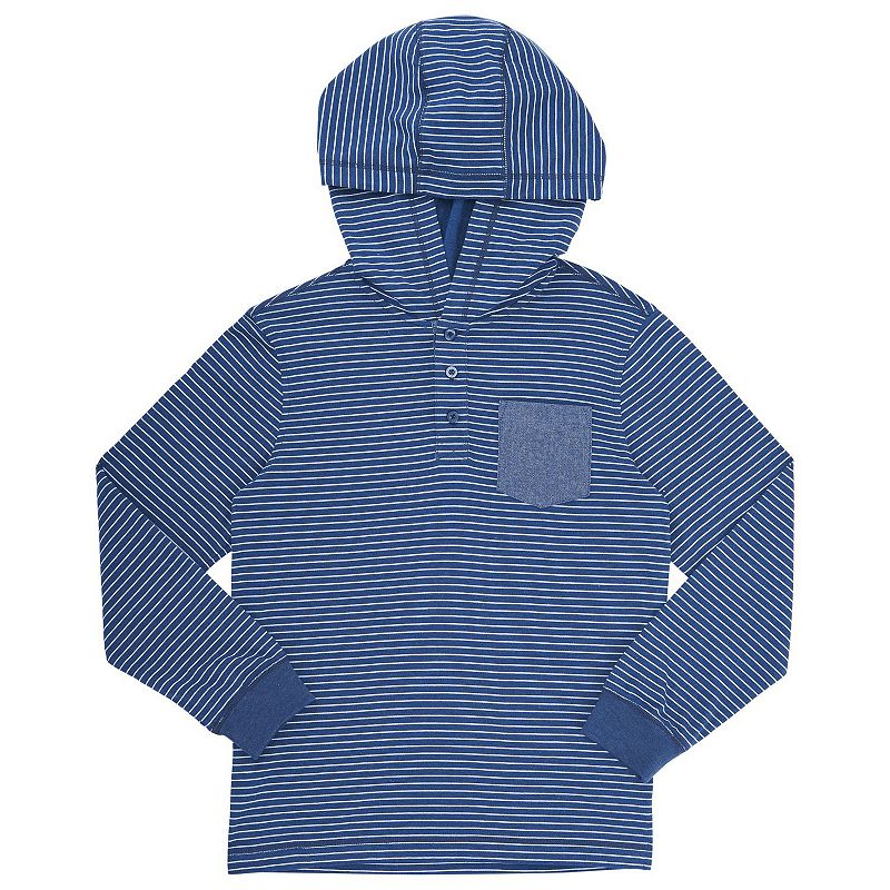 Boys 4-7 French Toast Hooded Pocket Henley, Boy's, Size: 7, Med Blue