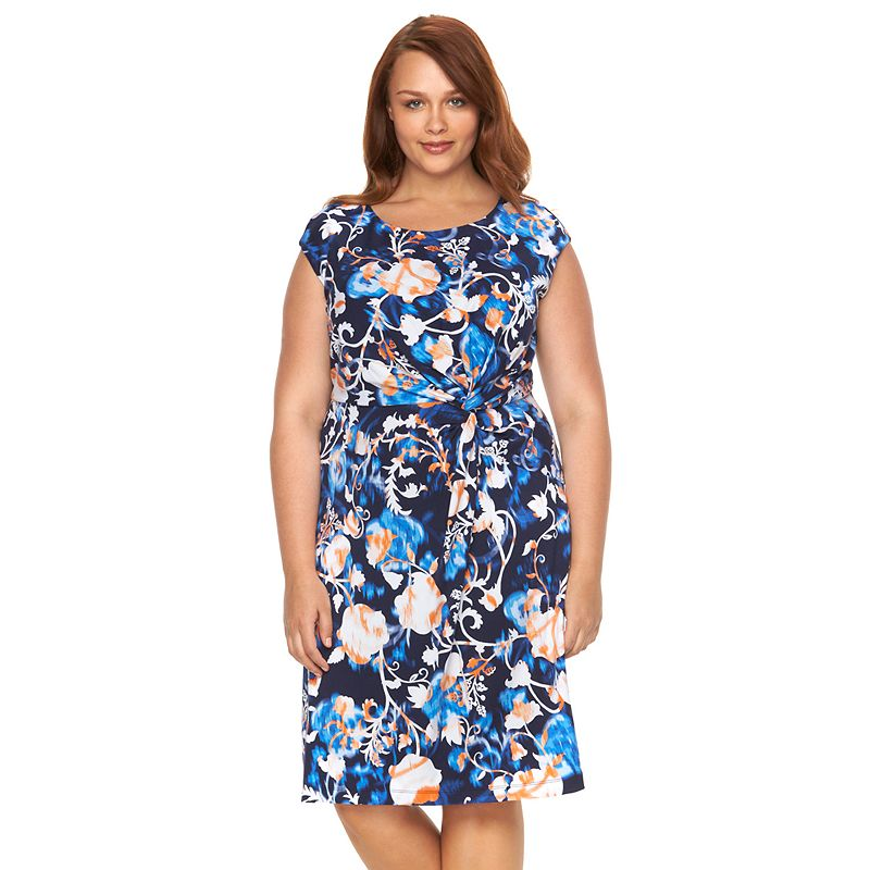 Plus Size Dana Buchman Knot-Front Dress