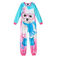 Girls Jelli Fish Animal Fleece One-Piece Pajamas